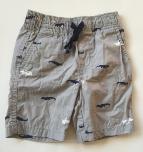 Carters Boys Shorts Gray Alligators Blue 3t Excellent Used Condition Barely Worn