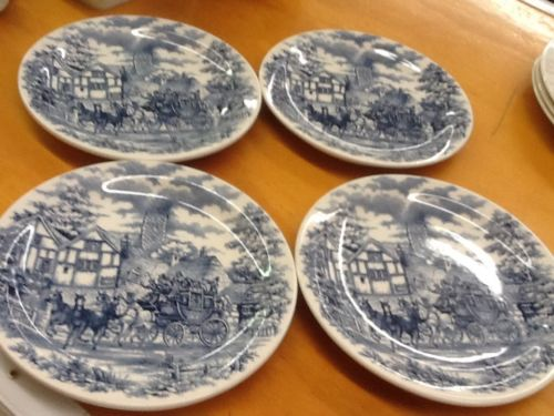 Oxford-Brazil-Blue & White-Carriage Village Scene-(4) Salad Plates-8 In Round-