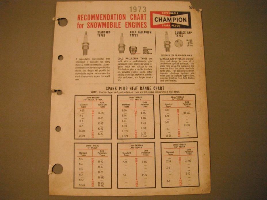 1973 Vintage Champion Snowmobile Spark Plug Recommendation Chart