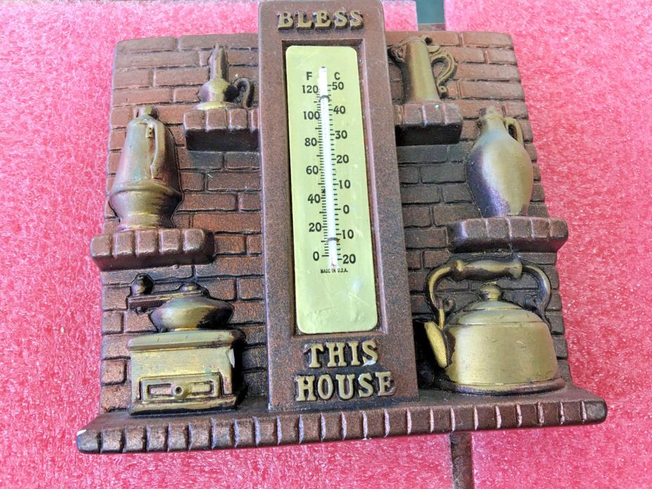 BS5 Vintage 1975 Miller Studio BLESS THIS HOUSE Chalkware Thermometer hearthside