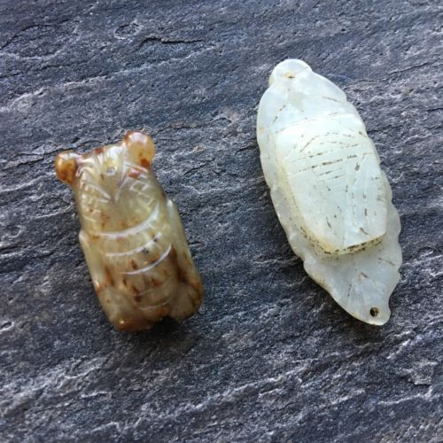 2 Jade Cicadas Beads, Antique Chinese