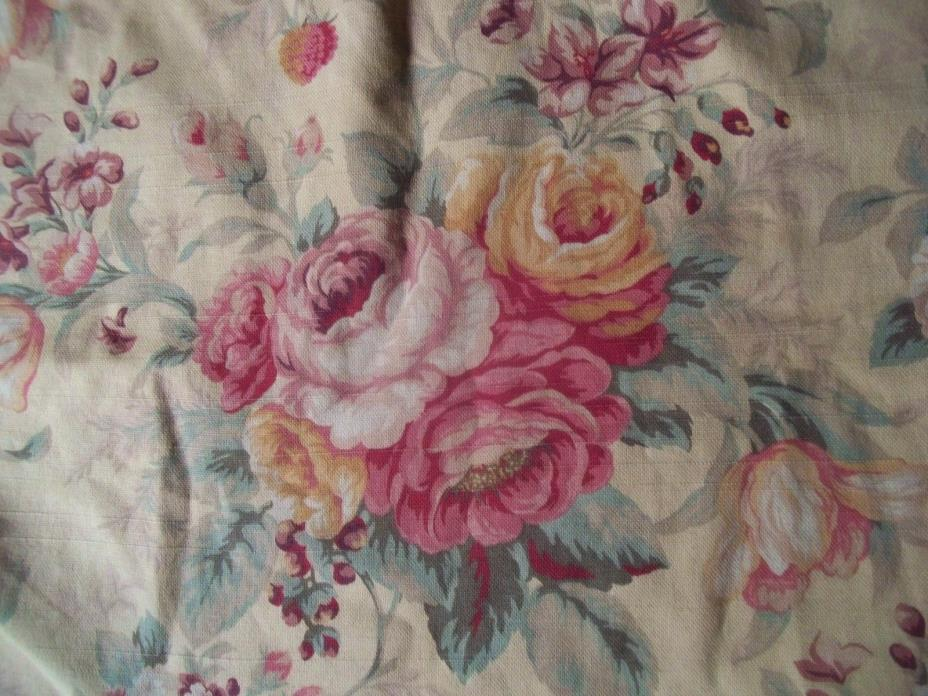 PINK YELLOW cream SHABBY FRENCH cabbage TULIPS ROSES ruffled PILLOW sham CASE
