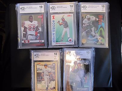 5 BECKETT GRADED BCCG 10 SPORT CARDS SOME GREAT ROOKIE CARDS MOSS RAMIREZ WOODS