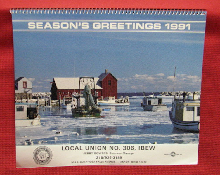 UNUSED calendar - 1991 - Local Union NO. 308, IBEW - Akron, Ohio