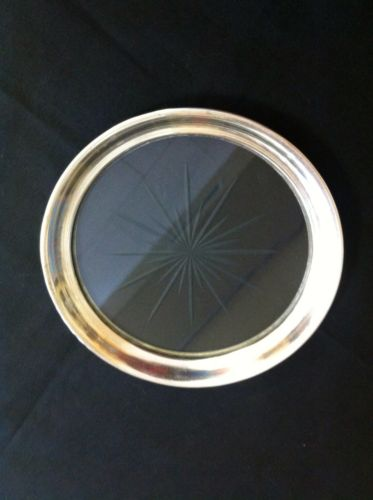 Sterling Silver And Glass Wine Bottle Coaster