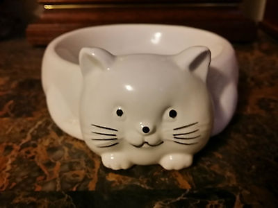 Ceramic Cat Bowl Food / Feeding or Water Dish White with Cat Shaped Face
