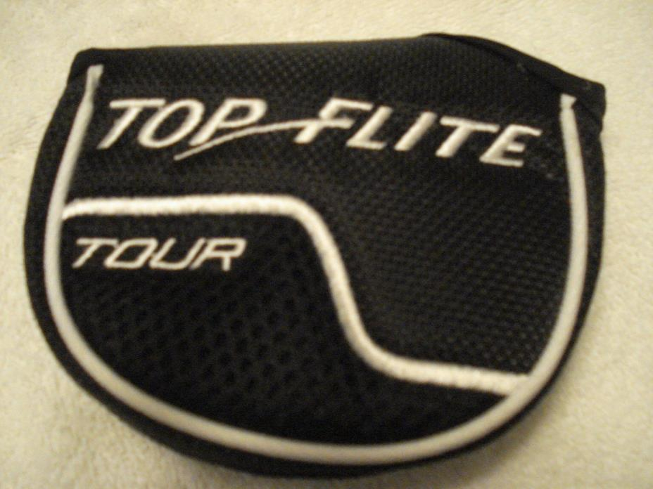 Top Flite Tour Mallet Putter, Black/White Headcover - Excellent Condition