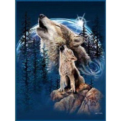 K2 Bed Blankets Harmony of Wolves Korean Mink Blanket, Queen