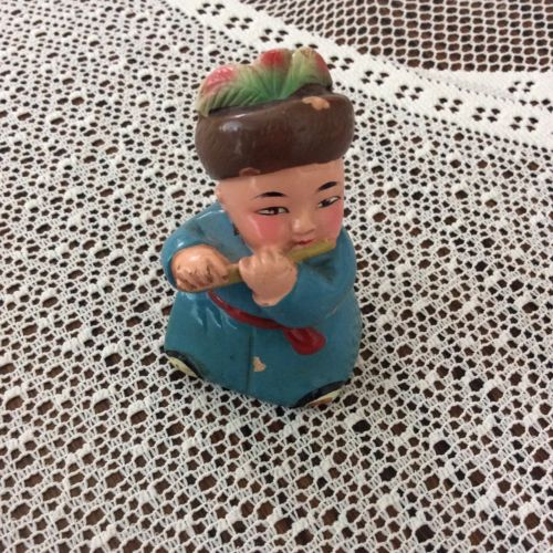 Vintage Wooden Pencil  Sharpner Chinese Man Playing Flutes