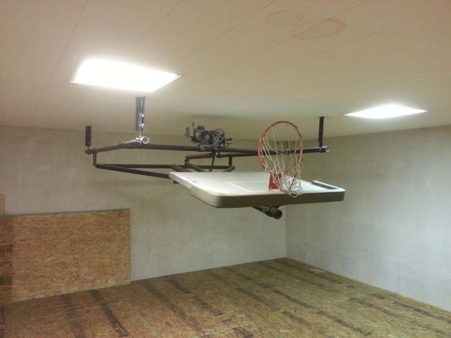retractable basketball standard glass backboard goal hoop ceiling mount electric