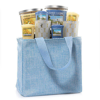 Yankee Candle Blue Jute Tote