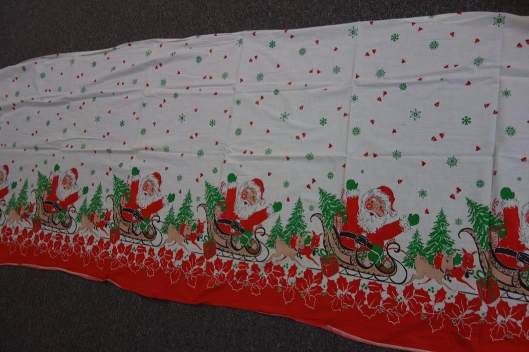 Vintage Christmas Fabric-Santa,Reindeer,Holly- 33x114-BRIGHT HOLIDAY  - SALE