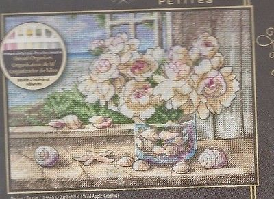 BY THE SEA--Flowers--Shells--Open Window--Counted Cross Stitch KIT