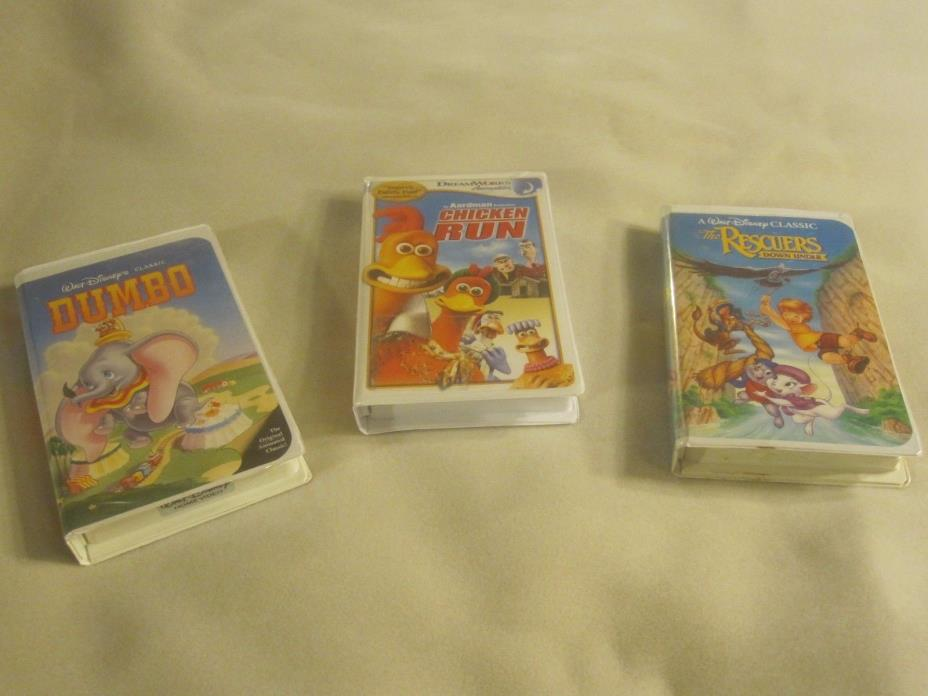 3 DISNEY VHS MOVIES CHICKEN RUN ,THE RESCUERS DOWN UNDER, DUMBO ~ 1952