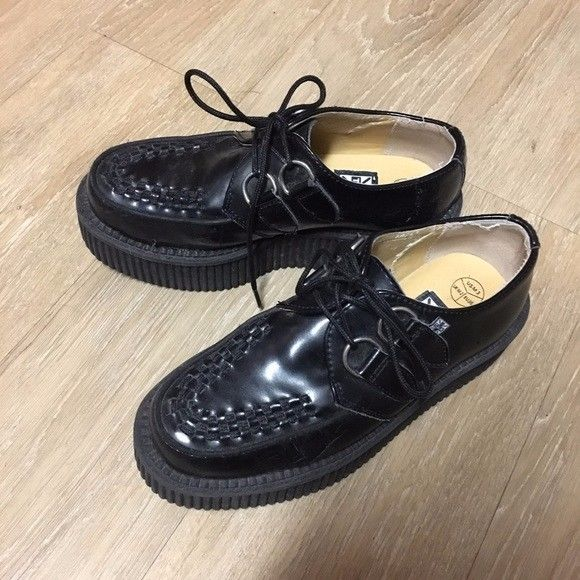 TUK black leather Mondo goth platform creeper womens size 5