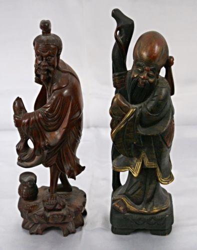 Vintage set of Oriental/Japanese Detailed Carved Figures Monk & Fisherman