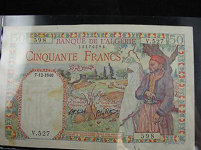 Algeria 50 France #598 Banque De l'Algerie Bank Note XF Free shipping!