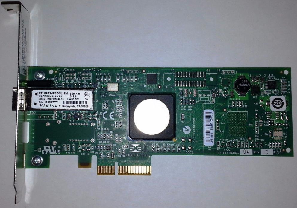 Dell Emulex LPE1150-E 4Gb Fibre Channel PCI-E PCIe x4 FC Network Card HBA