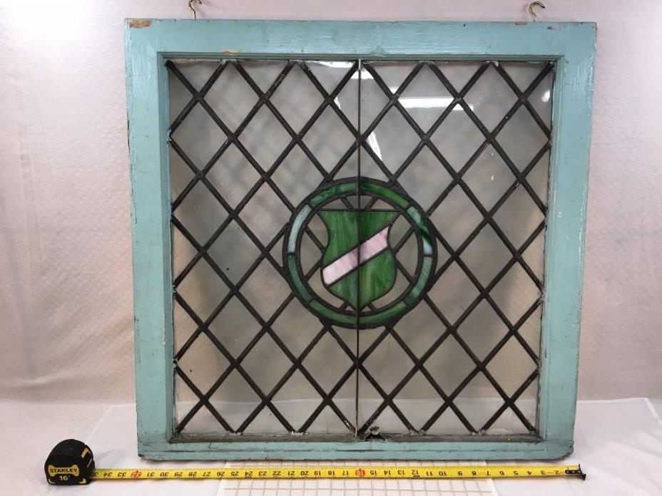 ANTIQUE LEADED STAINED GLASS WINDOW, DIAMOND PATTERN