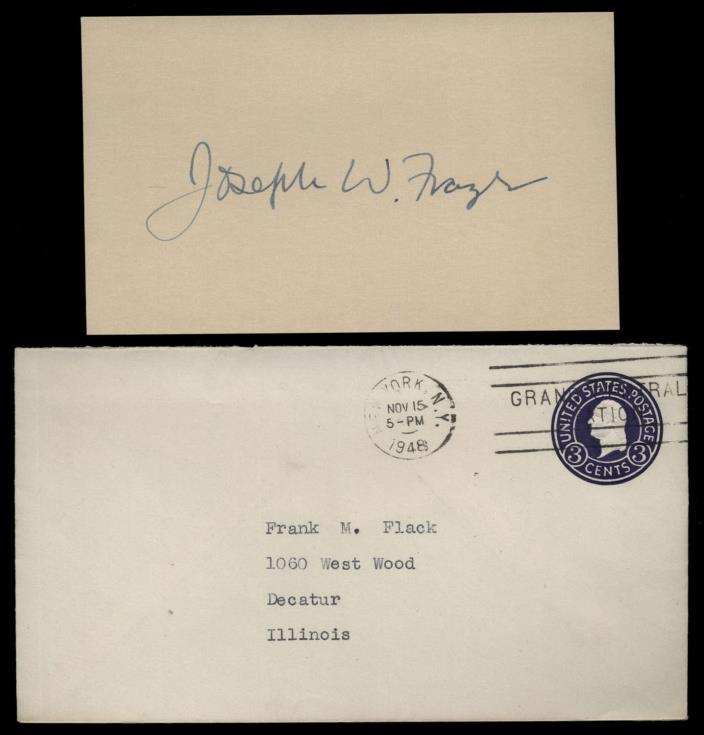 Joseph W. Frazer (d.1971) Signed 3x5 Index Card- Chrysler Executive