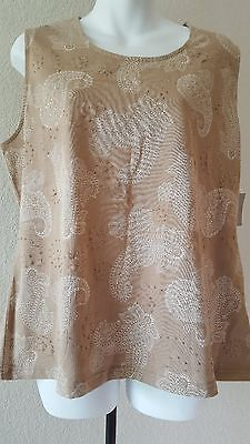 NWT CROFT & BARROW Tan/Creme Sleeveless Gold Bling Tank Top XL