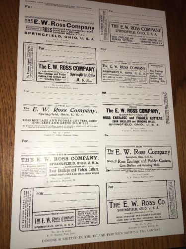 E W Ross Mfr Agricultural Equipment Springfield Ohio Printing Industry Ad 1901