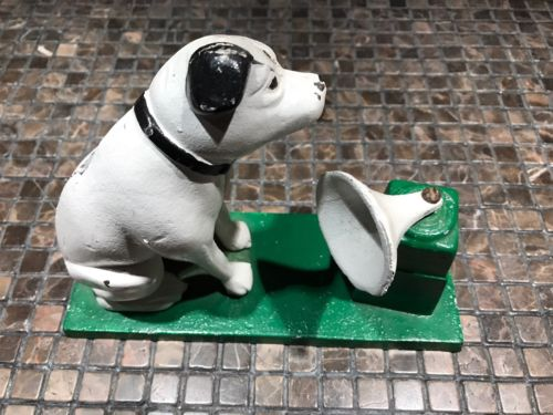 RCA Victor Nipper Dog CAST IRON BANK Movable Phonograph