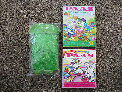 EASTER EGG COLOR KITS 2 PAAS 1996 & 2005 & GREEN EASTER GRASS UNOPENED