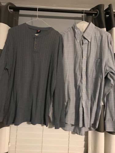 Men's Lot Of 2 Shirts A Button Up And A Comfy Henley Sz L