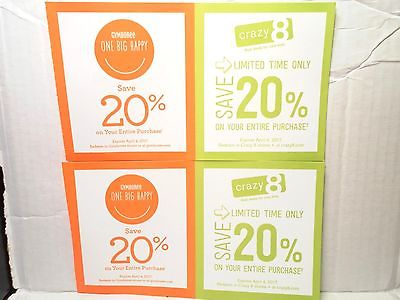 2 GYMBOREE & Crazy 8 20% off Purchase Online Coupon Code - Expires 04/04/17 2017
