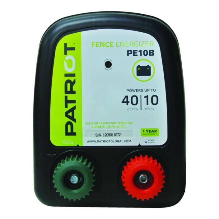 Patriot PE10B Battery Fence Energizer, 0.30 Joule