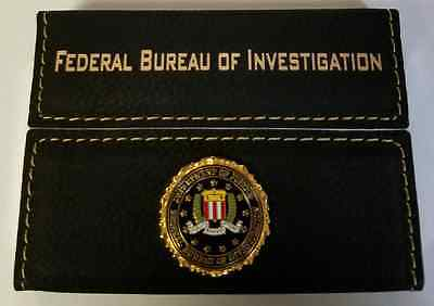 FBI Federal Bureau of Investigation Black Leather Hard Biz Card Holder w Emblem