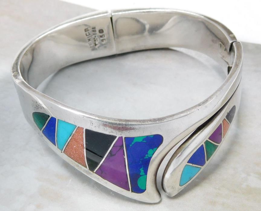 VINTAGE SOUTHWEST TAXCO 950 SILVER DOUBLE HINGED INLAY BRACELET #426P