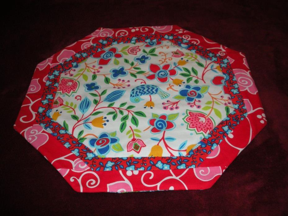I NEW HANDMADE REVERSABLE TABLETOPPER RED, BLUE, WHITE, FLOWERS, BIRDS