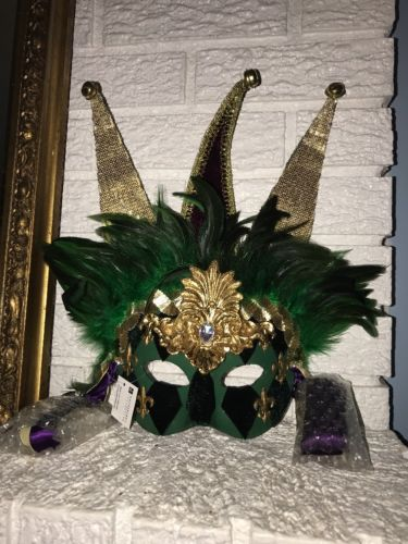 Costume Katherine's Collection Jester Mask Gold Feathers New