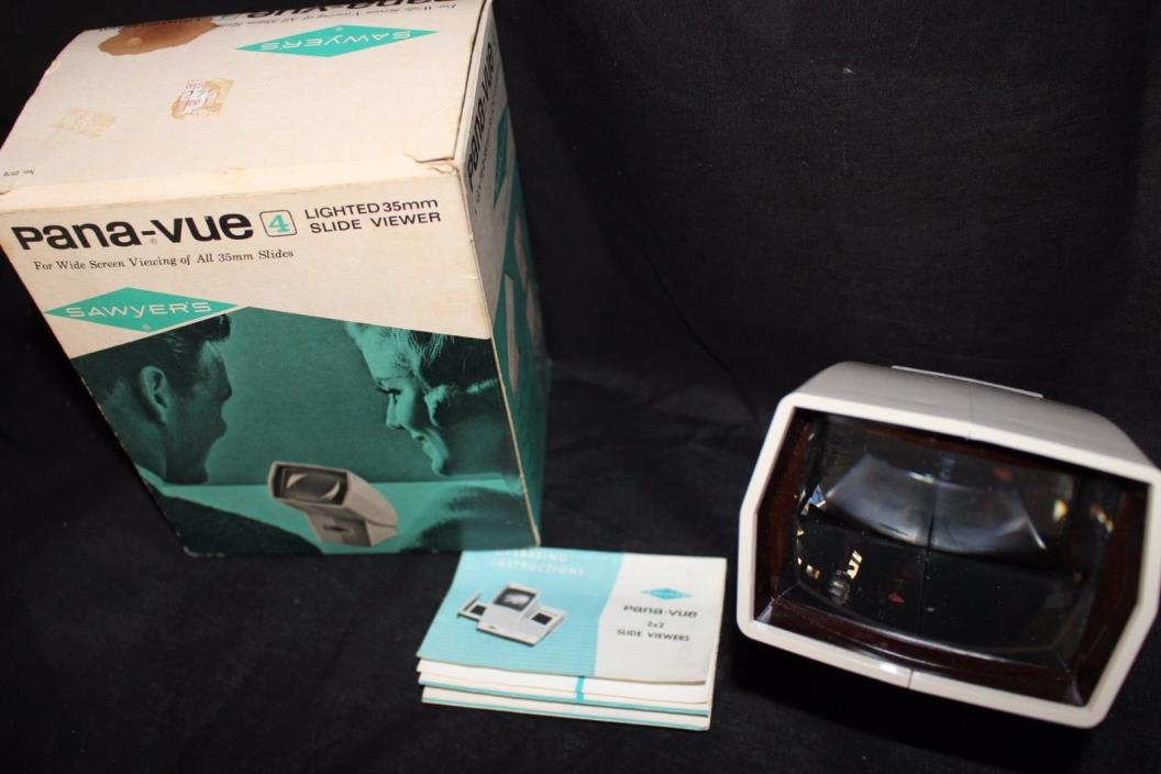 Vintage Pana-Vue Sawyer's lighted 4 35mm Electric Slide Viewer w/Box Tested Work