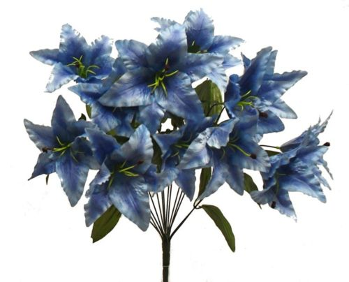 14 Tiger Lily BLUE Silk Wedding Flowers Bridal Centerpieces Decoration