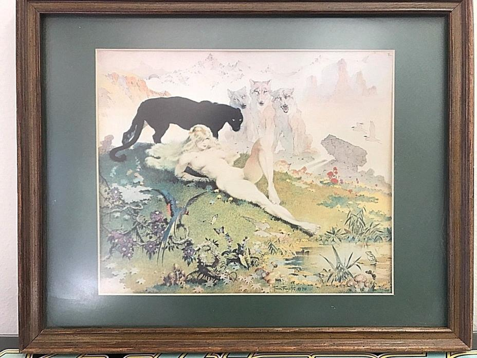 Matted Framed Frank Frazetta Art Golden Girl Woman Wolves and Panther RARE 1970