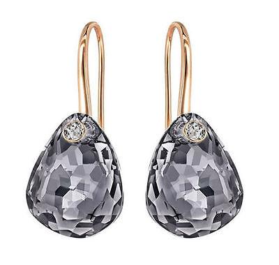 Swarovski 5182601 Crystal Parallele Pierced Drop Dangle Earrings Silver Night