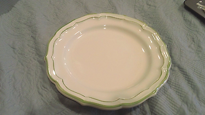 Gien France FILETS VERTS & Trim Scalloped Dinner Plate NICE
