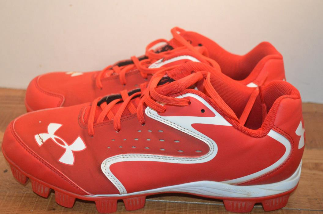 UNDER ARMOUR RED BASEBALL CLEATS size 9 med   EXCELLENT!