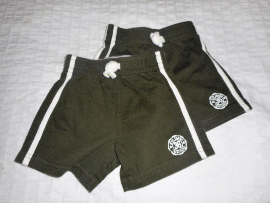 Carter's Twin Infant Boy Dark Olive Green Knit Shorts - size 12 months