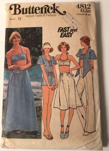 VIntage Butterick #4812 Pattern 70s Top Bra Skirt Pants Shorts Size 12 UNCUT