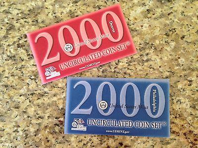 2000 P & D Uncirculated US Mint Set 20 Coins Sacagawea Dollar