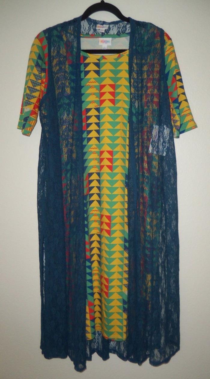 NWT Lularoe Lg Julia Dress Arrow Chevron Triangle Matching Lg Joy Lace Vest
