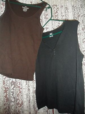 TANK TOP LOT BLACK & BROWN TANK TOPS XXL