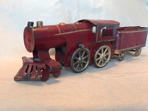 Antique Old Friction Hill Climber Locomotive Train & Tender Dayton Clark/Turner?
