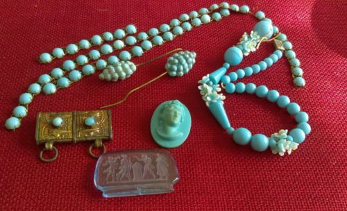 REPAIR LOT VICTORIAN TURQUOISE BLUE FINDINGS JEWELRY