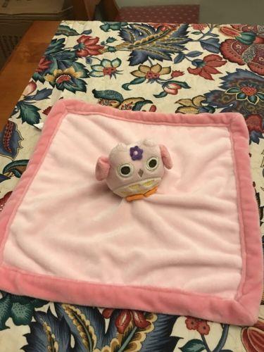 Tiddliwinks Plush Owl Pink Velour Baby Girl Security Blanket Lovey Purple Flower