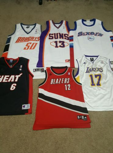 nba basketball jersey lot, 6 jerseys